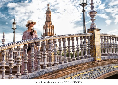 Sevilla Plaza de Espana bridge Andalusia Spain square