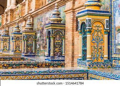 Sevilla, Plaza de Espana famous decoration with ceramic tiles, Seville (Sevilla), Andalusia, Spain.