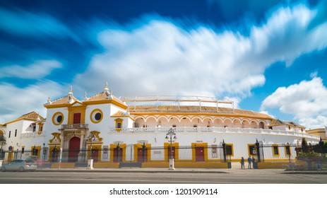 SEVILLA / SPAIN - 04.21.2017 PLAZA DE TOROS from outside - Seville