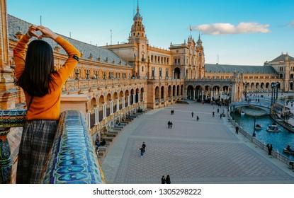 SEVILLA, SPAIN - 20.01.2019: Photos of the main square of Sevilla - Plaza de Espana