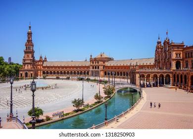 SEVILLA, SPAIN: 8th, July, 2018 - Plaza de Espana beautiful arquitecture on a summer day touristc place