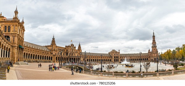 SEVILLA, SPAIN - DECEMBER 15, 2017: Panoramic view of the Spain Square (Plaza de Espana) in Seville (Sevilla) city, Andalusia, Spain. Example of Moorish and Renaissance revival
