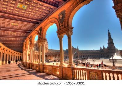 Sevilla, Spain - January 2019 : Plaza de Espana in winter, HDR image