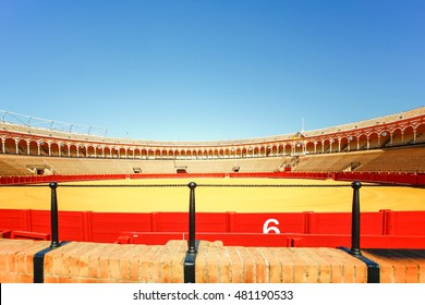 SEVILLA, SPAIN, JANUARY 7, 2016: view of bullfighting arena plaza de toros de la real maestranza de caballeria de sevilla in the spanish city sevilla