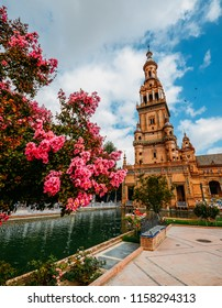 Sevilla, Spain - July 15, 2018: Pink flowers with copy space at Plaza de Espana in Seville, Andalucia, Spain