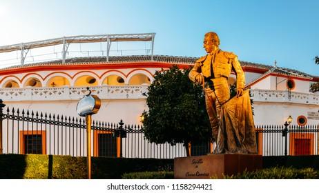 Sevilla, Spain - July 15, 2018: Statue and monument to the Torero Curro Romero, Sevilla