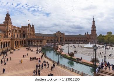 [Sevilla, Spain / Jun 01 2019] Spain, Andalusia, Seville. Plaza de Espana