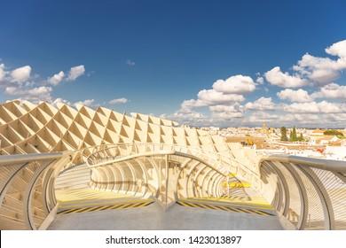 [Sevilla, Spain / Jun 01 2019] Spain, Andalusia, Sevilla, The Metropol Parasol in Plaza de la Encarnacion, better known as Las Setas