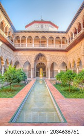SEVILLA, SPAIN, JUNE 25, 2019: Patio de las Doncellas inside of the Mudejar palace at real alcazar de Sevilla in Spain