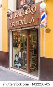 [Sevilla, Spain - May 30 2019] Traditional hair shop in Sevilla, Spain