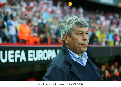 SEVILLA, SPAIN - MAY 5: FC Shakhtar head coach Mircea Lucescu during the UEFA Europa League semi-finals match between FC Shakhtar Donetsk vs Sevilla FC, 5 May 2016, Ramon Sanchez Pizjuan, Spain