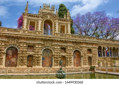 SEVILLA, SPAIN - May 9, 2019:  Gardens in Reales Alcazares in Seville - residence developed from a former Moorish Palace in Andalusia, Spain