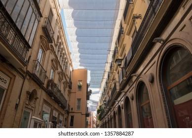 SEVILLA, SPAIN - SEPTEMBER 30, 2019. Colorful streets of Sevilla, Spain.