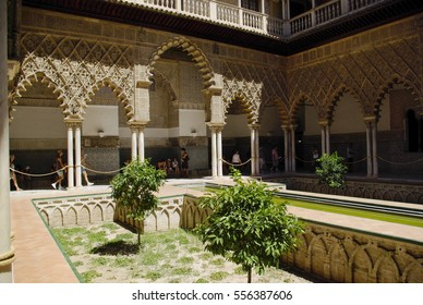 SEVILLA,ES - CIRCA AUGUST, 2008 - Views of the Alcazar Palace in Sevilla. The Alcazar, with the Alhambra in Granada, is the best example of the moorish architecture in Spain.
