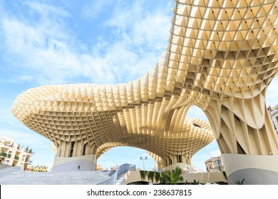 SEVILLA,SPAIN -JUNE 05 : Metropol Parasol in Plaza de la Encarnacion on June 05, 2014 in Sevilla, Spain. J. Mayer H. architects, it is made from bonded timber with a polyurethane coating.