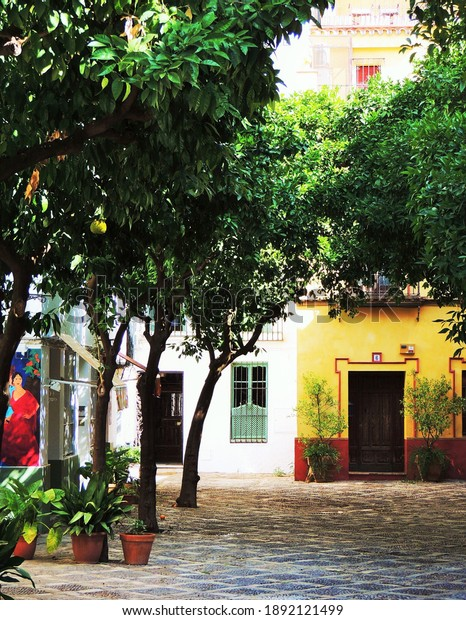 Sevilla,Spain,June 2015,a nice little square with painted houses