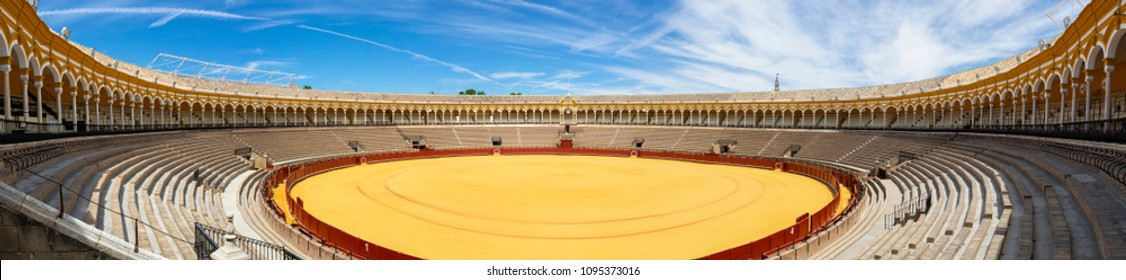 Seville 05/12/2018: Plaza de Toros arena, called also Real Maestranza, is the oldest arena of Spain used for the bullfight. It can contain up to 12.000 people of audience
