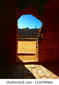 Seville, Andalucia / Spain - November 21 2017: Anfiteatro de Italica also known as The Dragon Pit from Game of Thrones. Here's the view from the corridor