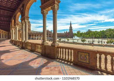 Seville, Andalusia, Spain - April 18, 2016: The famous Square of Spain, in Spanish Plaza de Espana, view from the path with columns. Seville, Andalusia, Spain.