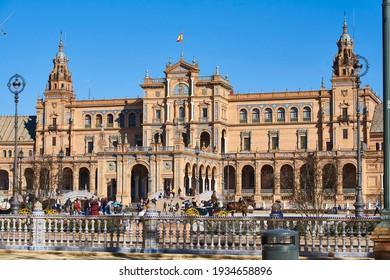 Seville, Andalusia, Spain, December 30 2016, Plaza de España, Seville, built for the Ibero-American Exposition of 1929, Seville, Andalusia, Spain, Europe.