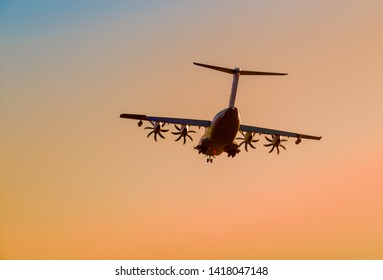 Seville, Andalusia / Spain; June 06 2019: Airbus A400M landing at the Airbus factory in Seville