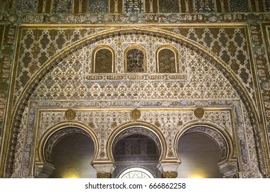 SEVILLE, ANDALUSIA, SPAIN, MAY, 22, 2017 : interiors and details of Seville Alcazar, may 22, 2017, in Seville, andalusia, spain