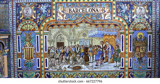 SEVILLE, ANDALUSIA, SPAIN, MAY 23, 2017 : ceramic azulejos in plaza de Espana, may 23, 2017, in Seville, andalusia, spain