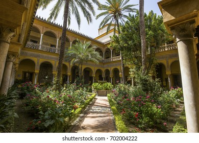 SEVILLE, ANDALUSIA, SPAIN, MAY 24, 2017 : interiors and details of Palacio de las duenas, may 24, 2017, in Seville, andalusia, spain