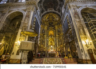 SEVILLE, ANDALUSIA, SPAIN, MAY, 25, 2017 : interiors  of  Santa maria Magdalena church, may 25, 2017, in Seville, andalusia, spain