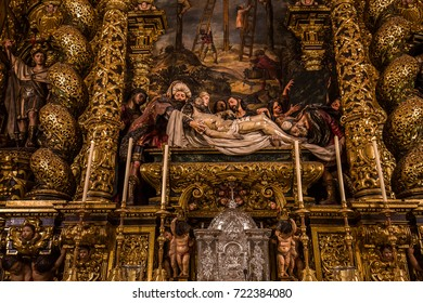 SEVILLE, ANDALUSIA, SPAIN, MAY, 26, 2017 : interior  of  hospital de la caridad church, may 26, 2017, in Seville, andalusia, spain