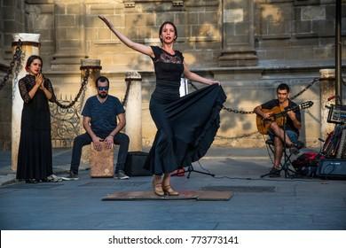 SEVILLE, ANDALUSIA / SPAIN - OCTOBER 13 2017: FLAMENCO DANCER