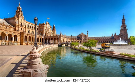 Seville, Andalusia, Spain - October 3, 2018: Plaza of Spain is a non-Mauritanian urban ensemble that appeared on the eve of the 1929 Ibero-American Exhibition.