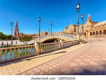 Seville, Andalusia, Spain - October 3, 2018: The Plaza of Spain (Plaza de Espana) is a non-Mauritanian urban ensemble.