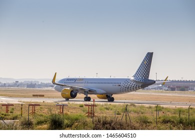 Seville, Andalusia/Spain; 05 15 2019: Vueling EC-NAV (Airbus A320 neo) is going to take off from Seville Airport.