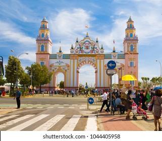 SEVILLE - APRIL 23: An elaborate gate is erected during the Feria de Abril on April 23, 2015 in Seville, Spain.
