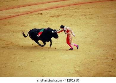 "SEVILLE - APRIL 30:  Bullfighter David Fandila ""El Fandi"" fights for a sold out crowd at the Plaza de Toros de Sevilla on April 30, 2009 in Seville, Spain."