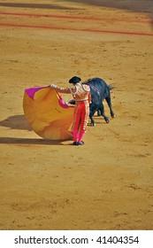 "SEVILLE - APRIL 30:  Bullfighter David Fandila ""El Fandi"" fights for a sold out crowd at the Plaza de Toros de Sevilla April 30, 2009 in Seville, Spain."