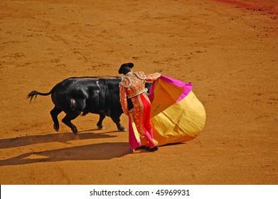 """SEVILLE - APRIL 30: Bullfighter David Fandila """"El Fandi"""" during the first stage of a bullfight at the Plaza de Toros de Sevilla April 30, 2009 in Seville, Spain."""