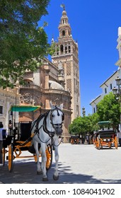 Seville Cathedral and carriages, Spain
