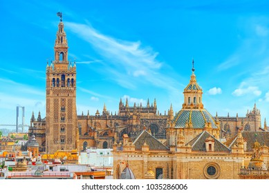 Seville Cathedral (Catedral de Santa Maria de la Sede de Sevilla) view from the observation platform Metropol Parasol, locally also known as Las Setas. Spain.