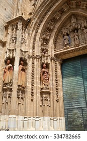 Seville cathedral facade in Constitucion avenue of Sevilla Andalusia Spain exterior image shot from public floor