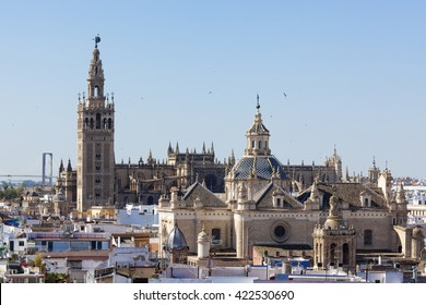 Seville cathedral with Giralda and Church of Annunciation as seen from Metropol Parasol lookout
