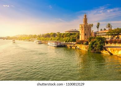 Seville city skyline at sunset,Spain