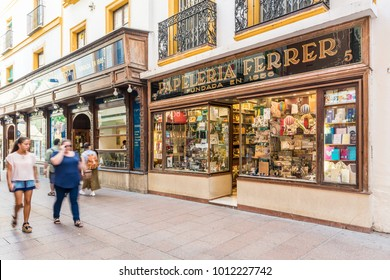 SEVILLE, ES - JULY 26, 2017: Ferrer stationery in Sierpes street, the traditional and busy shopping street of the Spanish city of Seville, Andalusia, Spain.