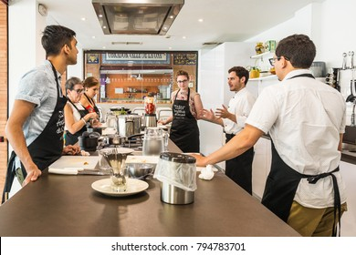 SEVILLE, ES - JULY 26, 2017: Andalusian Cooking Workshop at the Mercado de Triana in Seville, Andalusia, Spain.