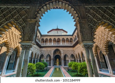 SEVILLE, ES - JULY 27, 2017: Real Alcazar de Sevilla, fortified palace composed of zones constructed in different historical stages.