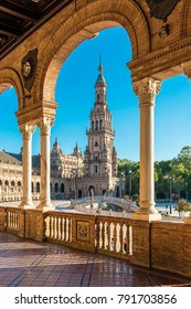 SEVILLE, ES - JULY 28, 2017: Plaza de Espana is an architectural ensemble located in the Maria Luisa Park in Seville, Spain. It was built as the main building of the Ibero-American Exposition of 1929.
