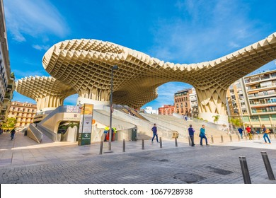 SEVILLE, ES - MARCH 6, 2017: The Metropol Parasol (officially called Setas de Sevilla) is a structure in the shape of a pergola made of wood and concrete located in Seville, Andalusia, Spain.