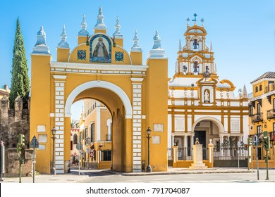SEVILLE, ES - MARCH 6, 2017: The door of the Macarena, also known as the arch of the Macarena, is the only three accesses that are preserved today by those who had the walls of Seville.