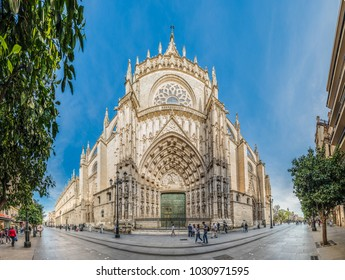 SEVILLE, ES - MARCH 7, 2017: The Cathedral of Santa Maria de la Sede de Sevilla is the largest Christian Gothic cathedral in the world. Unesco declared it in 1987 a World Heritage Site.